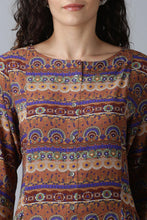 Load image into Gallery viewer, Brown patterned kurti