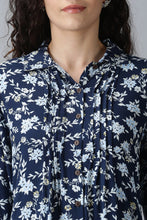 Load image into Gallery viewer, Navy Blue Floral Kurti