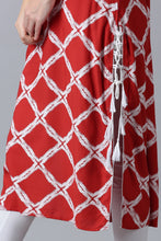 Load image into Gallery viewer, Red Kurti with Diamond Pattern