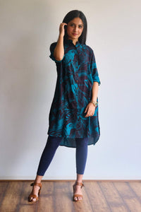 Black and green floral & leaf patterned kurti