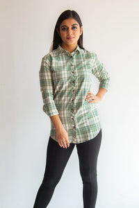 Green & white checked shirt