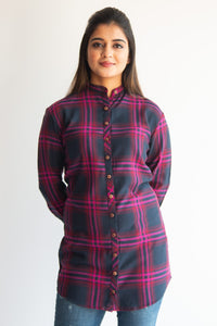 Magenta & black checked shirt