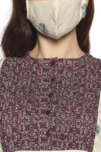 Load image into Gallery viewer, Cream Kurti with Maroon  Pattern (Matching Mask Free)