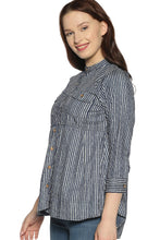 Load image into Gallery viewer, Grey Striped Short Kurti