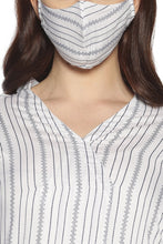 Load image into Gallery viewer, White Striped Kurti (With Matching Mask)