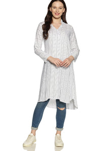 White Striped Kurti (With Matching Mask)