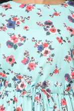 Load image into Gallery viewer, Cyan Floral Kurti