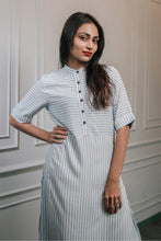 Load image into Gallery viewer, Light blue pinstriped Kurti