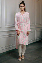 Load image into Gallery viewer, Pink striped Kurti with tie