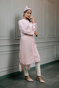 Pink striped Kurti with tie