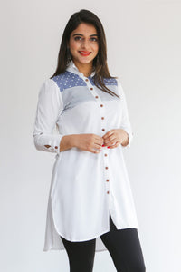 White & blue patterned long shirt