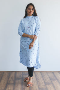 Light blue dotted kurti