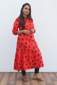 Red patterned kurti with doodle print
