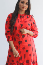 Load image into Gallery viewer, Red patterned kurti with doodle print