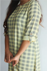 Lime yellow checked kurti
