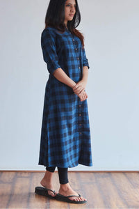 Blue Checked Kurti
