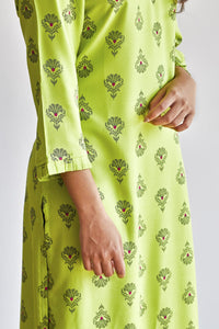Lime green kurti with mini ruffled sleeve and bottom