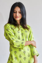 Load image into Gallery viewer, Lime green kurti with mini ruffled sleeve and bottom