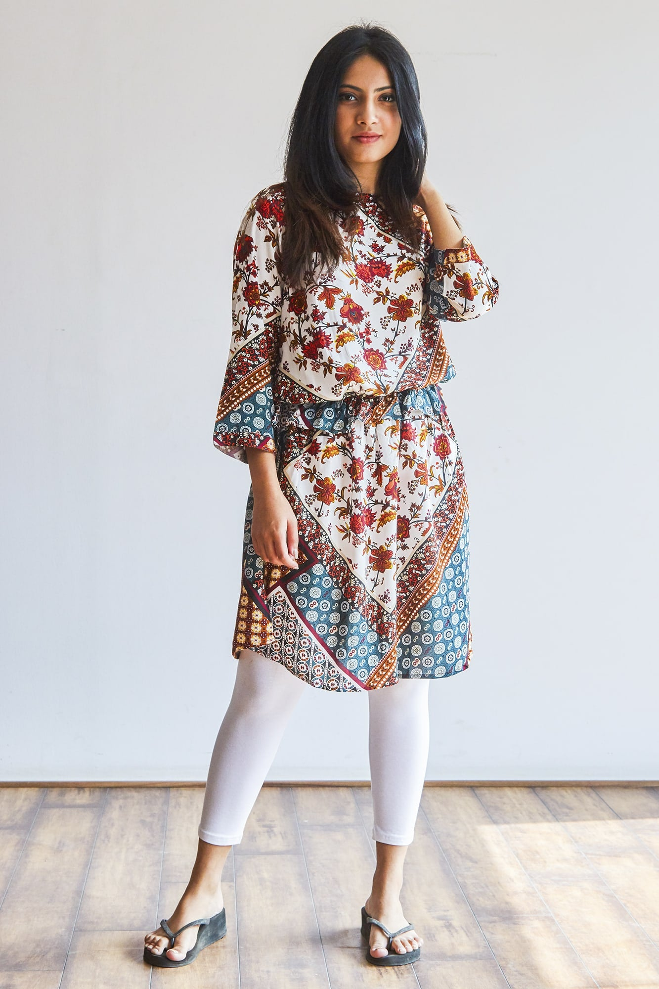 Multi-coloured kurti with waist lining