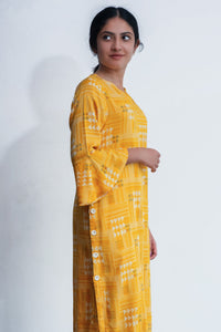 Yellow Kurti with Subtle Geometric Pattern