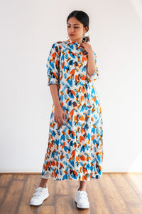 Vibrant Orange and Blue Kurti