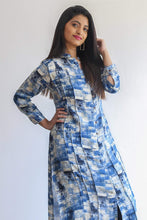 Load image into Gallery viewer, Blue patterned kurti