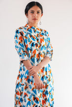 Load image into Gallery viewer, Vibrant Orange and Blue Kurti