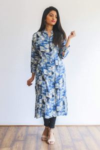 Blue patterned kurti