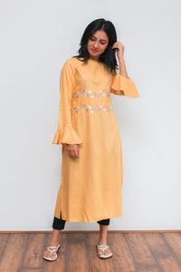 Yellow Kurti With Flared Sleeves