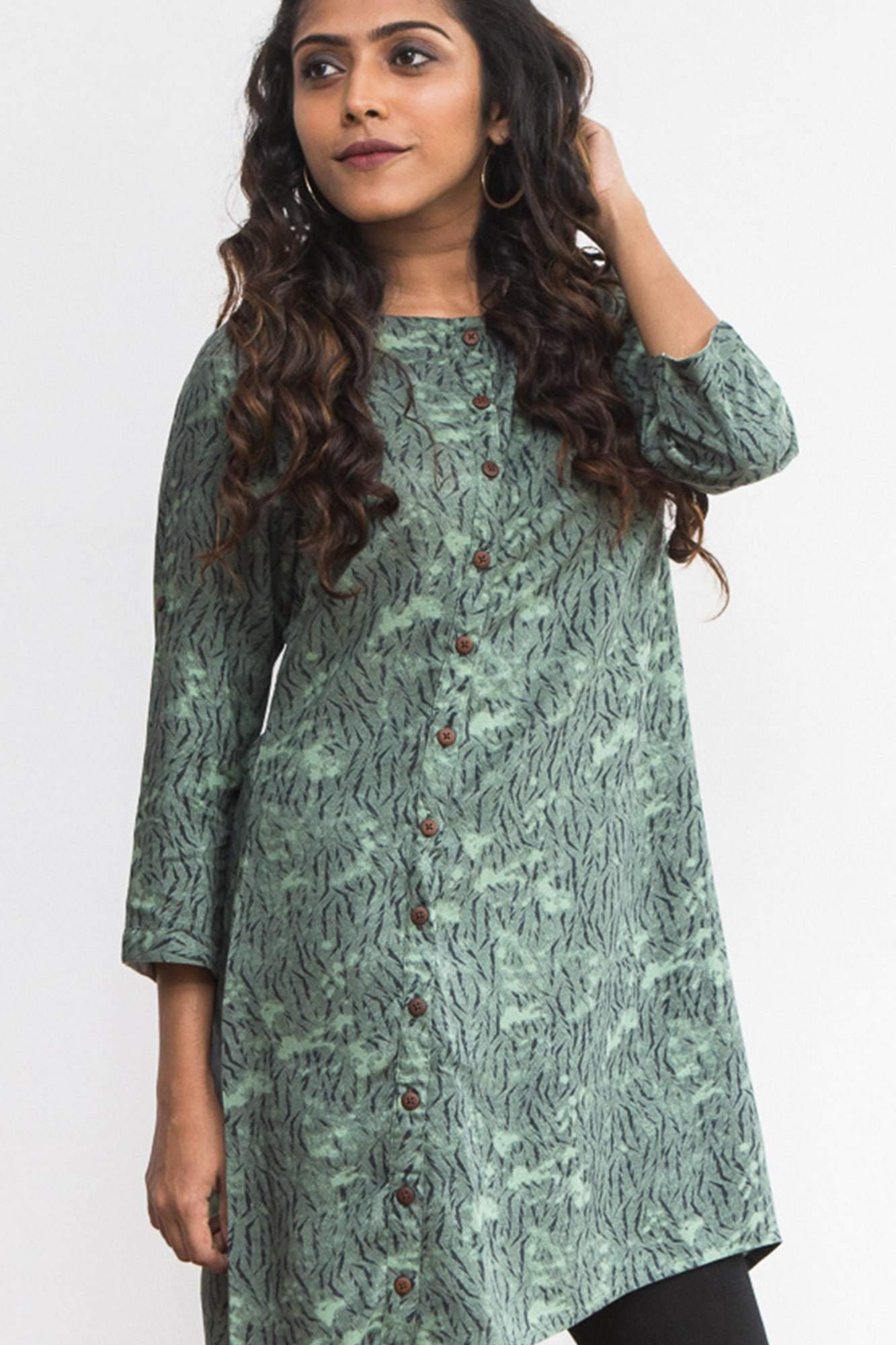 Dark green patterned kurti