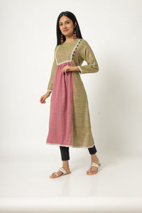 Pink and green patterned kurti with border