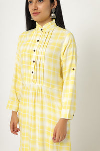 Yellow Checked Kurtis with Fold up Sleeves