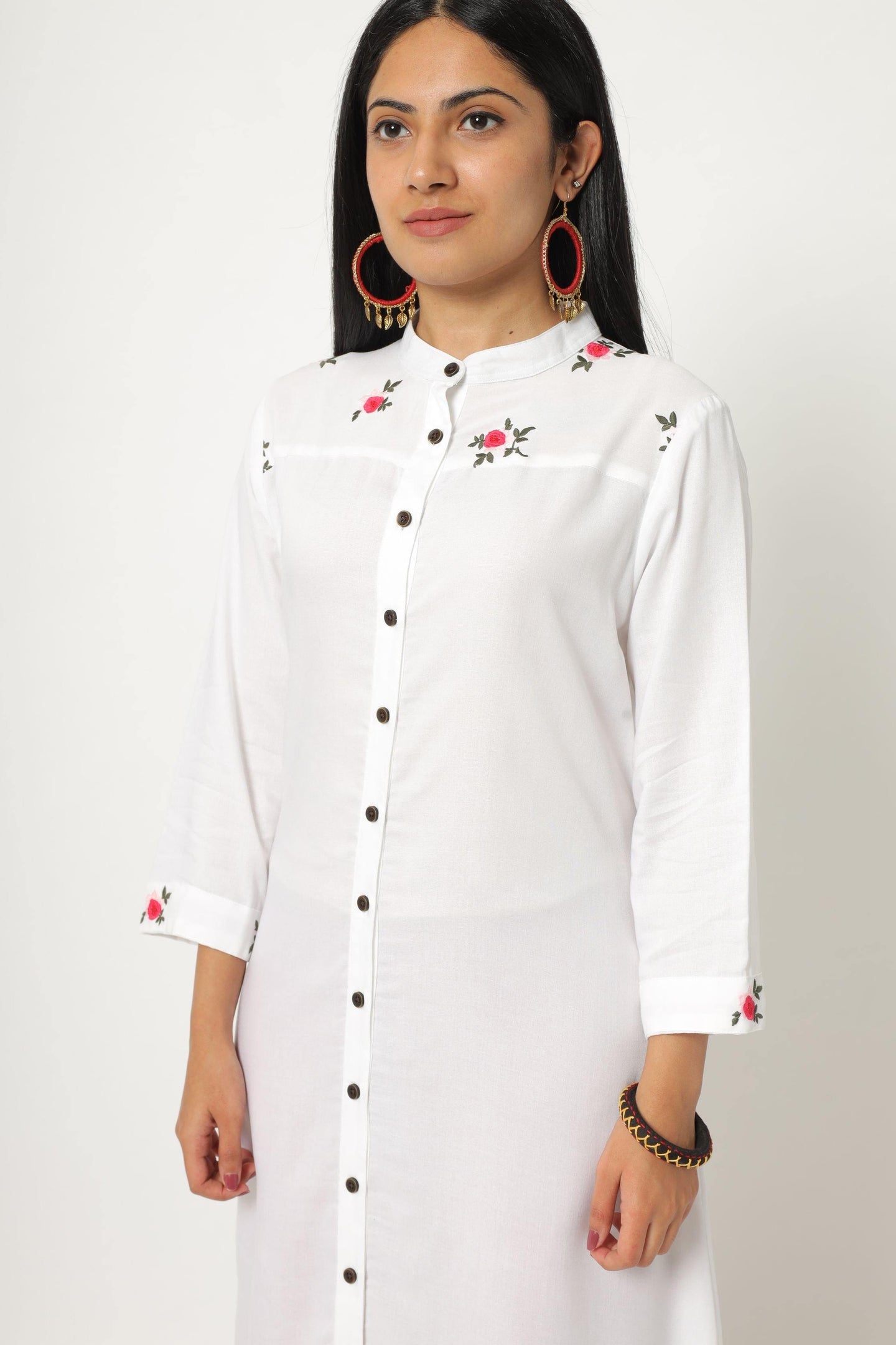 Classic white kurti with embroidered yoke