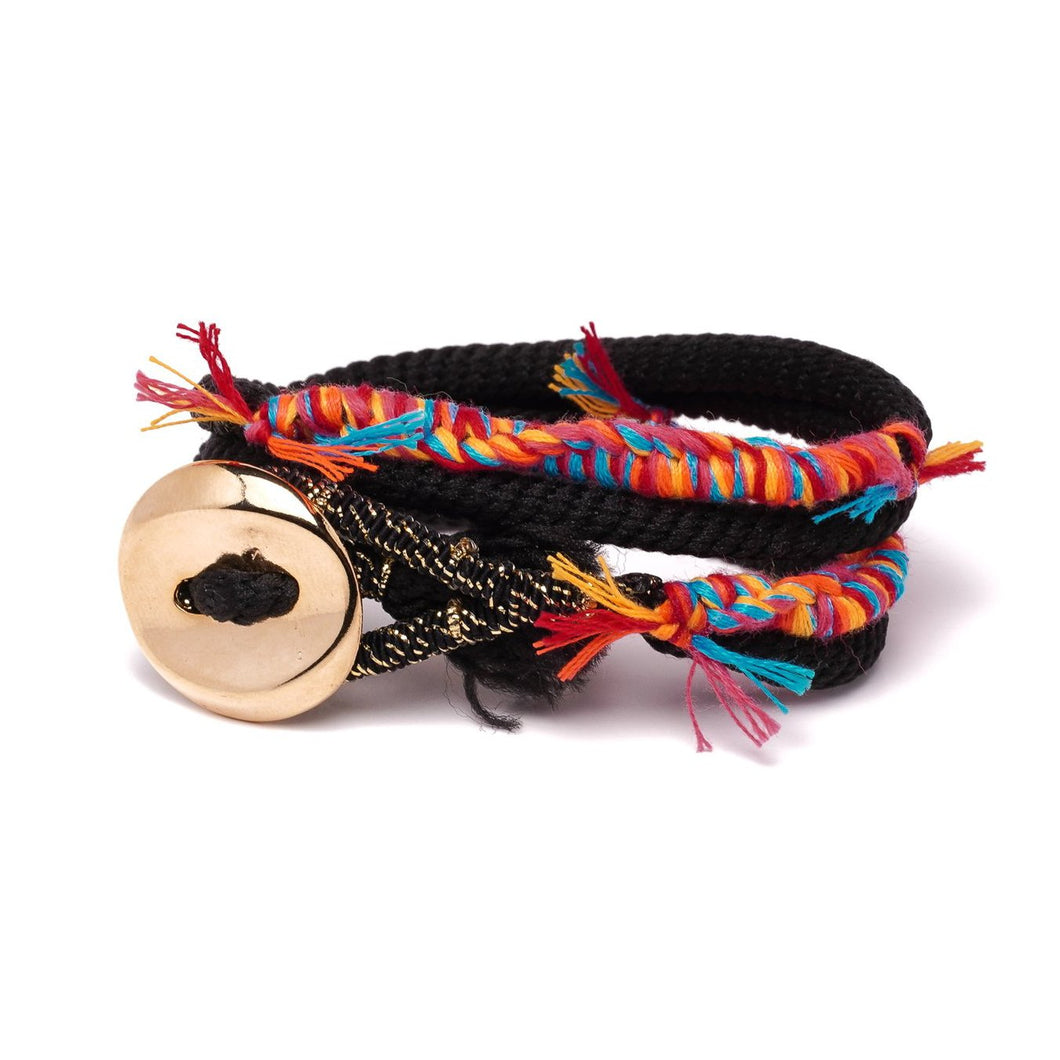 BUTTON COLORFUL BLACK BRACELET