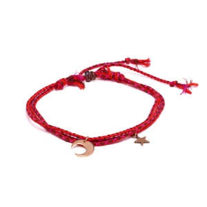 BRAIDED LITTLE CHARMS FUCHSIA ANKLET
