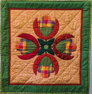 Quilt #07 - Plaid Tulip Bouquet