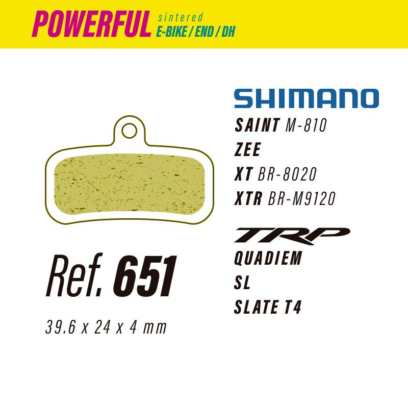 651 LESS POWERFUL PASTILLAS FRENO Shimano saint-zee-xt-xtr / TRP quadiem-sl-slate