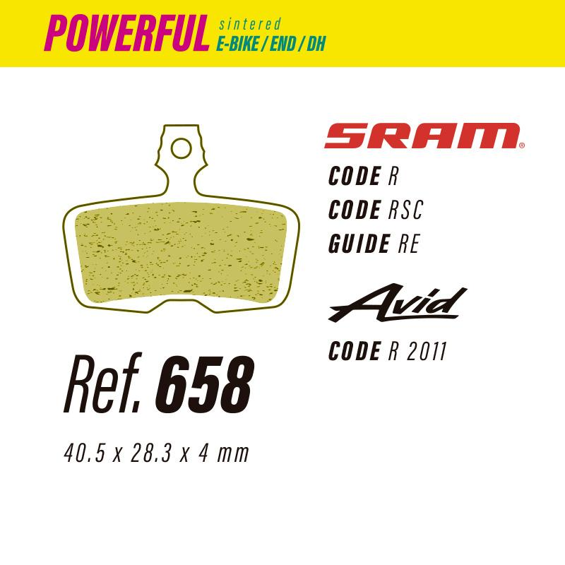 658 LESS POWERFUL PASTILLAS FRENO Sram code-guide / Avid code