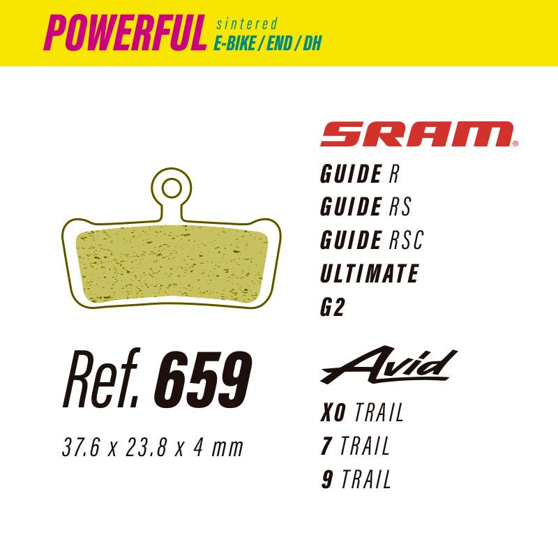 659 LESS POWERFUL PASTILLAS FRENO Sram guide-ultimate-g2 / Avid x0-7-9
