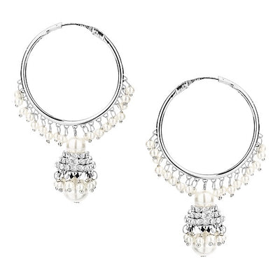 Silver Pearl Hoop Earrings