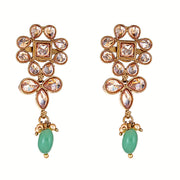 Adiva Floral Earrings in Green