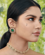 Neema Stud Earrings in Emerald