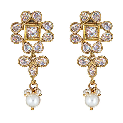 Adiva Floral Earrings in Pearl
