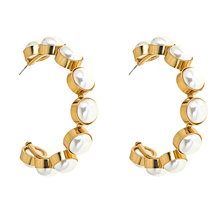 Ahd Oversized Pearl Earrings in Gold