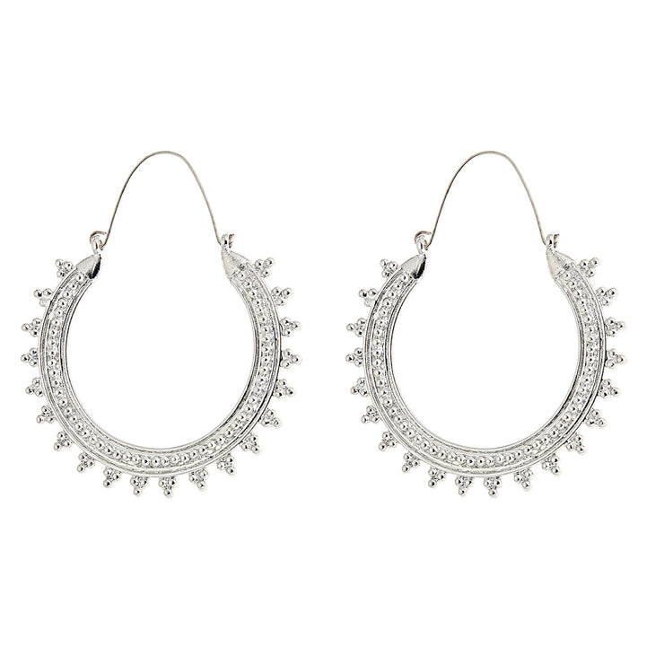 Bohemian Hoop Earrings in SIlver
