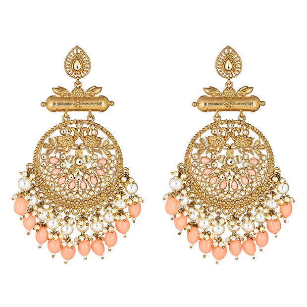 Krishna Earrings in Coral