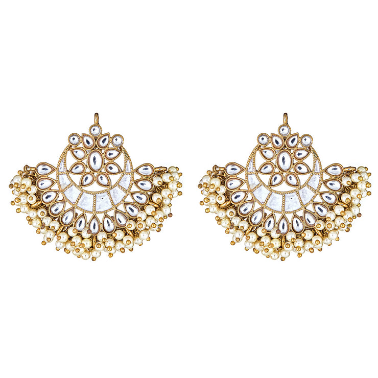 Esma Crescent Earrings in White