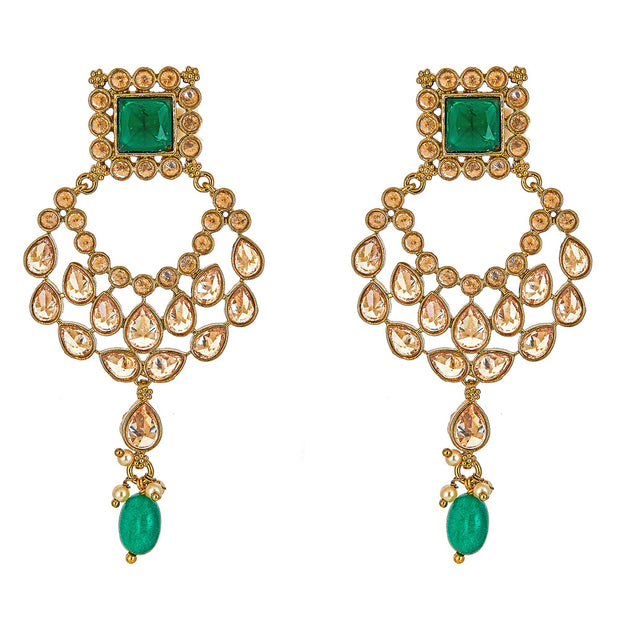 Saira Earrings in Emerald
