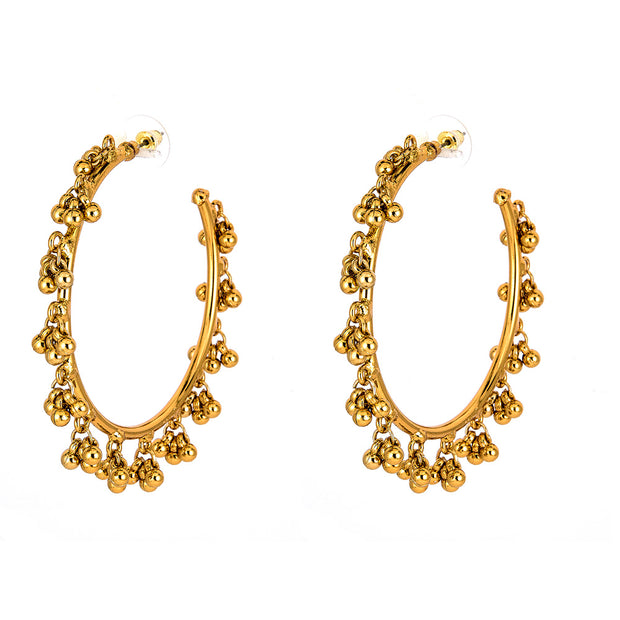 Tribal Hoop Earrings in Gold