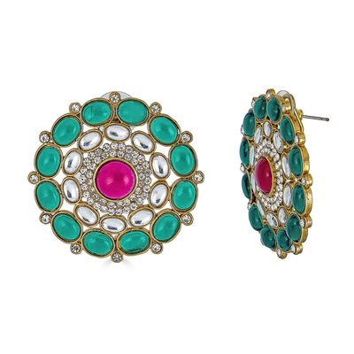 Riya Stud Earrings in Emerald